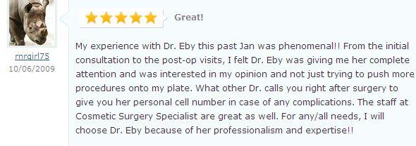 Dr Patricia Eby cosmetic surgery testimonial